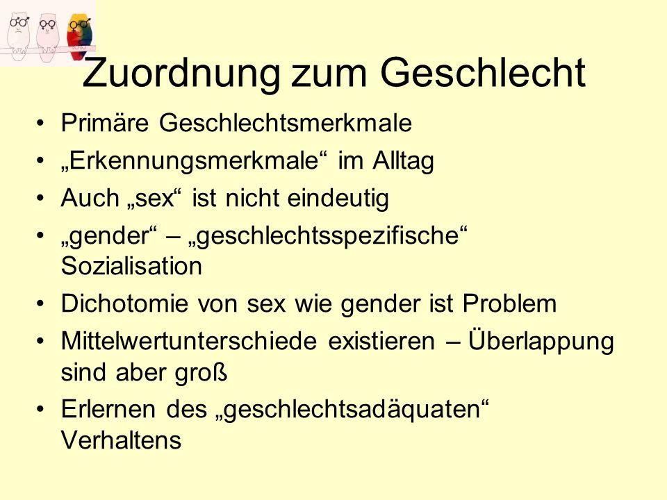 Zuordnung zum Geschlecht