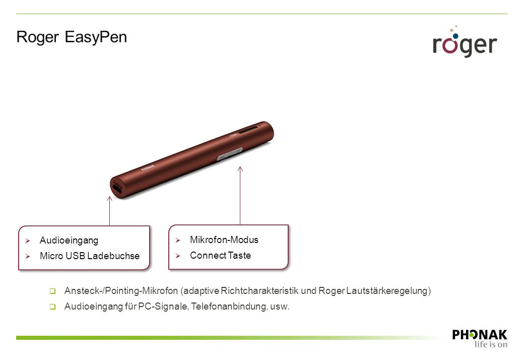 Roger EasyPen Audioeingang Mikrofon-Modus Micro USB Ladebuchse