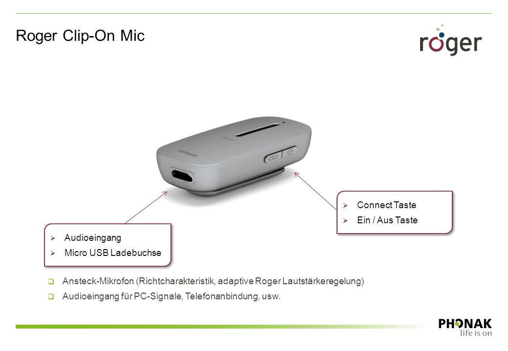 Roger Clip-On Mic Connect Taste Ein / Aus Taste Audioeingang