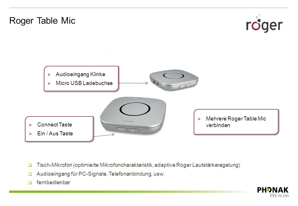 Roger Table Mic Audioeingang Klinke Micro USB Ladebuchse
