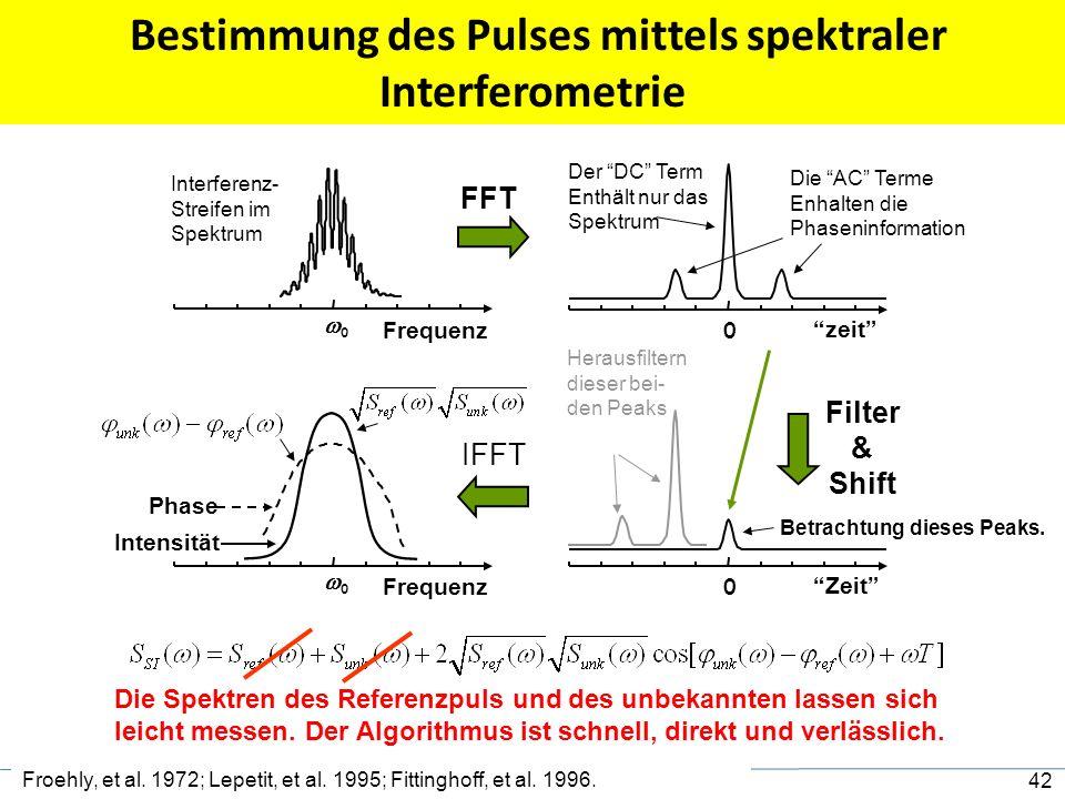Bestimmung des Pulses mittels spektraler Interferometrie