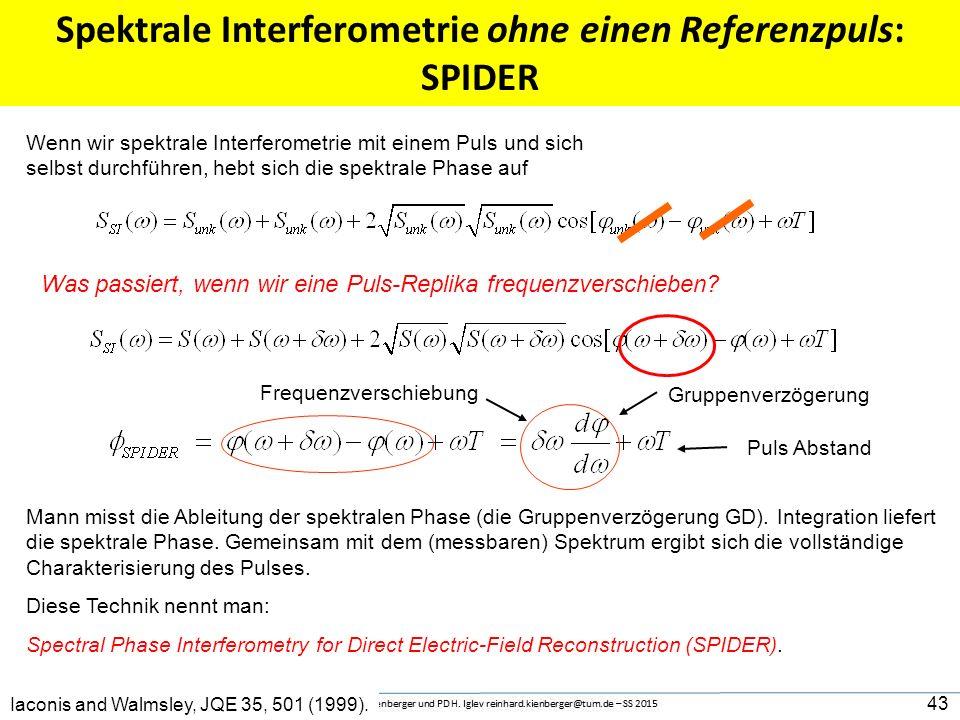 Spektrale Interferometrie ohne einen Referenzpuls: SPIDER