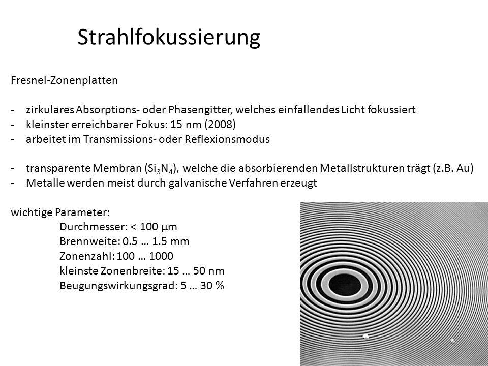 Strahlfokussierung Fresnel-Zonenplatten