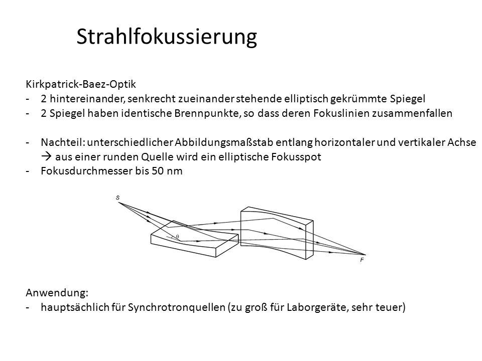 Strahlfokussierung Kirkpatrick-Baez-Optik