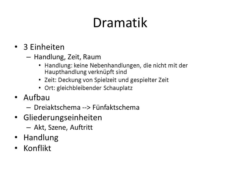 Dramatik 3 Einheiten Aufbau Gliederungseinheiten Handlung Konflikt