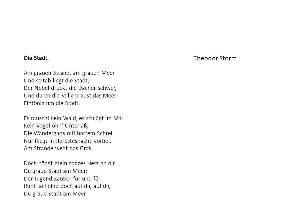 Theodor Storm Die Stadt.