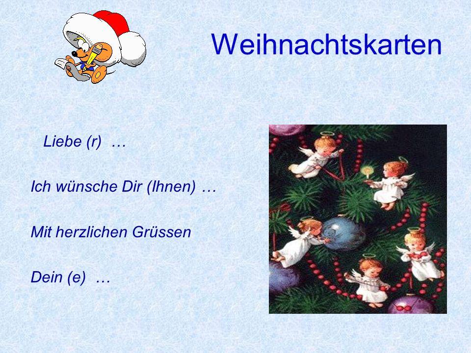 Weihnachtskarten Liebe (r) … Ich wünsche Dir (Ihnen) …