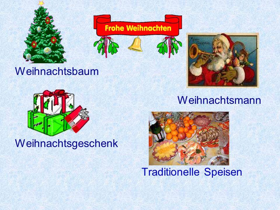 Weihnachtsbaum Weihnachtsmann Weihnachtsgeschenk Traditionelle Speisen