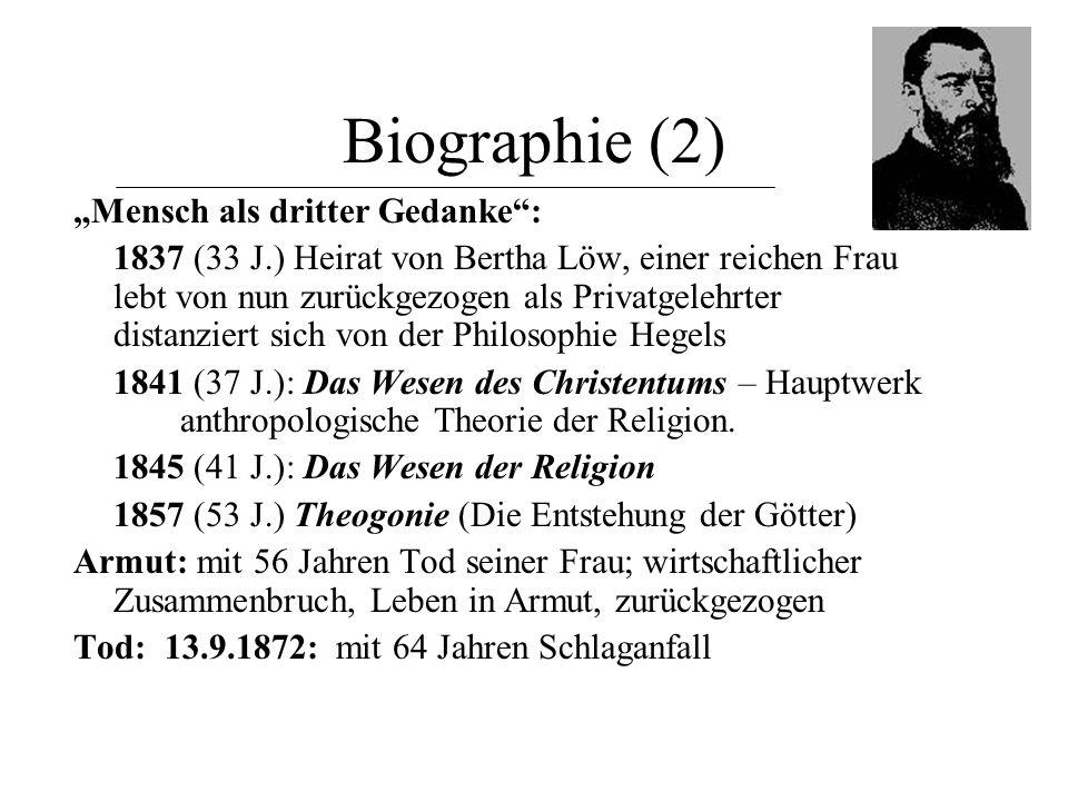 "Biographie (2) ""Mensch als dritter Gedanke :"