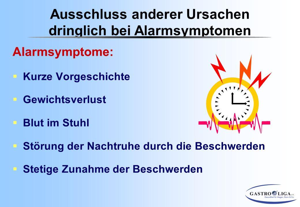 Ausschluss anderer Ursachen dringlich bei Alarmsymptomen