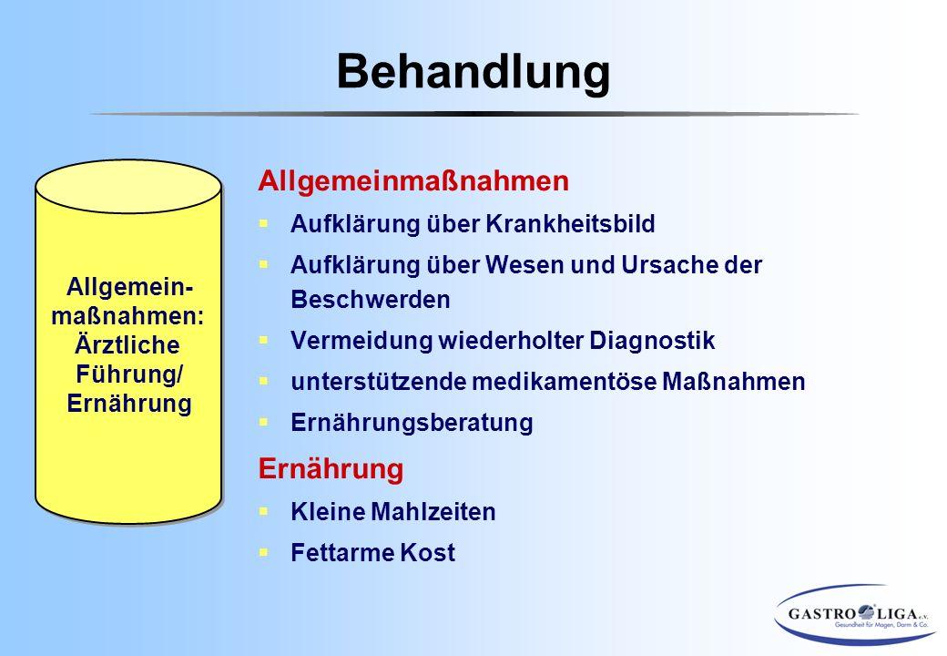 Behandlung Allgemeinmaßnahmen Ernährung Aufklärung über Krankheitsbild