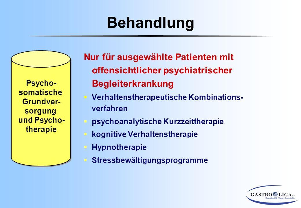 Behandlung Psycho- somatische. Grundver- sorgung. und Psycho- therapie.