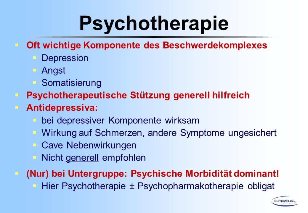 Psychotherapie Oft wichtige Komponente des Beschwerdekomplexes