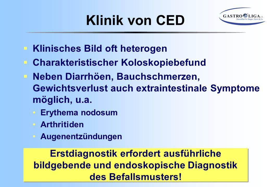 Klinik von CED Klinisches Bild oft heterogen