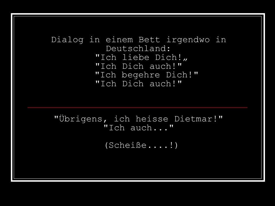 Dialog in einem Bett irgendwo in Deutschland: Ich liebe Dich