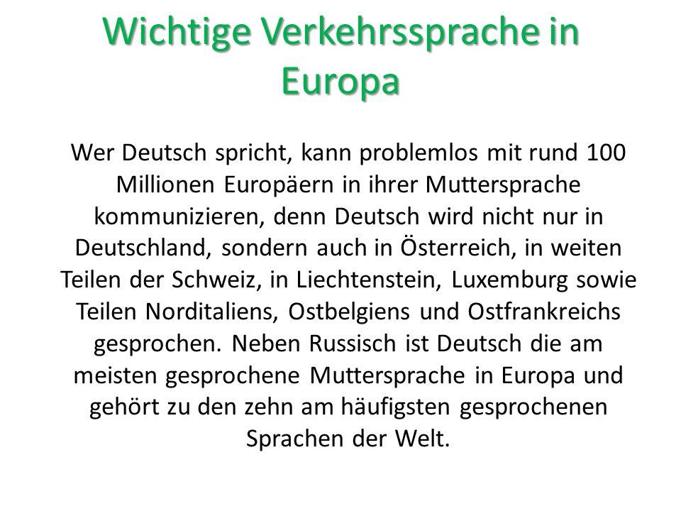 Wichtige Verkehrssprache in Europa
