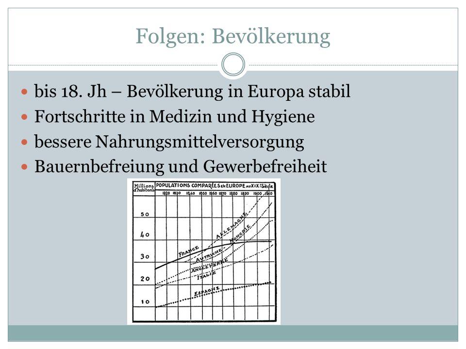 Folgen: Bevölkerung bis 18. Jh – Bevölkerung in Europa stabil