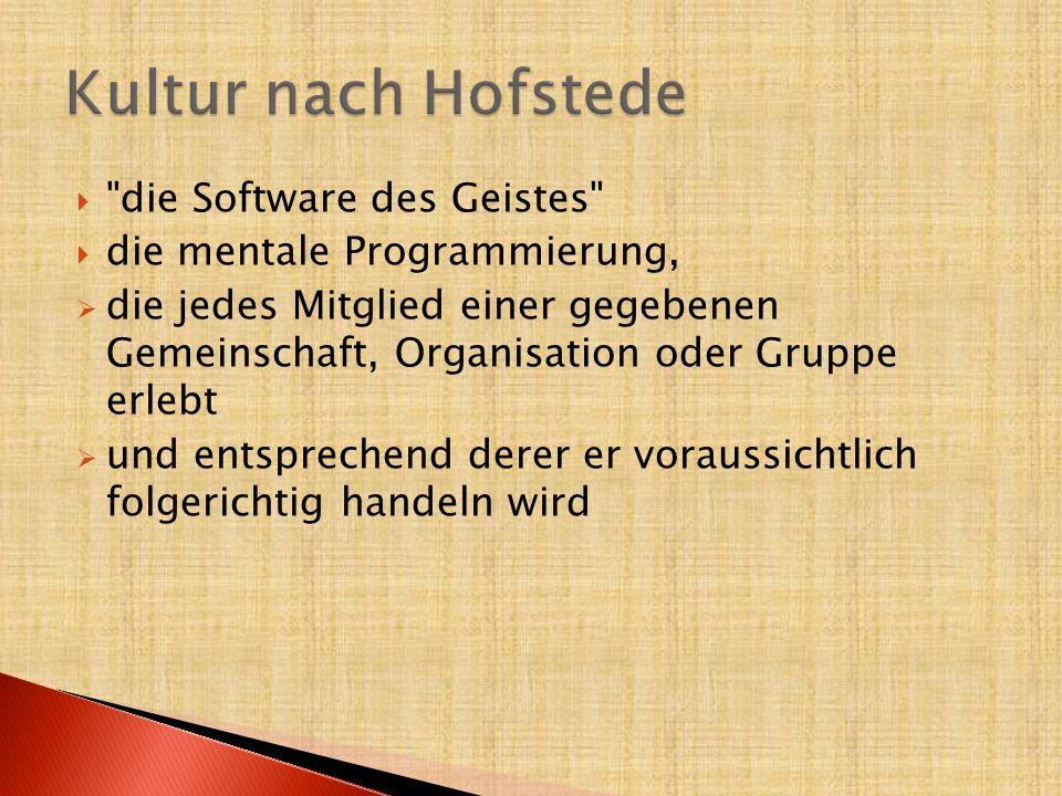 Kultur nach Hofstede die Software des Geistes