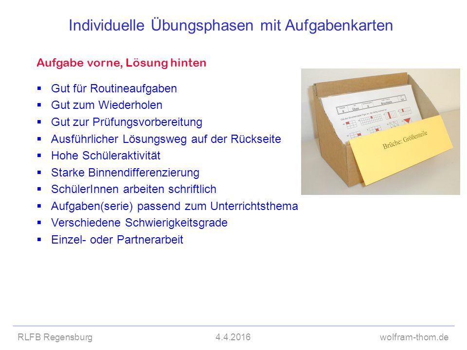 Individuelle Übungsphasen mit Aufgabenkarten