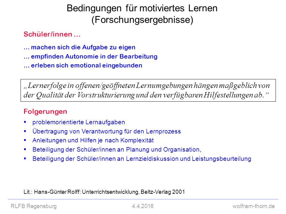 Bedingungen für motiviertes Lernen (Forschungsergebnisse)