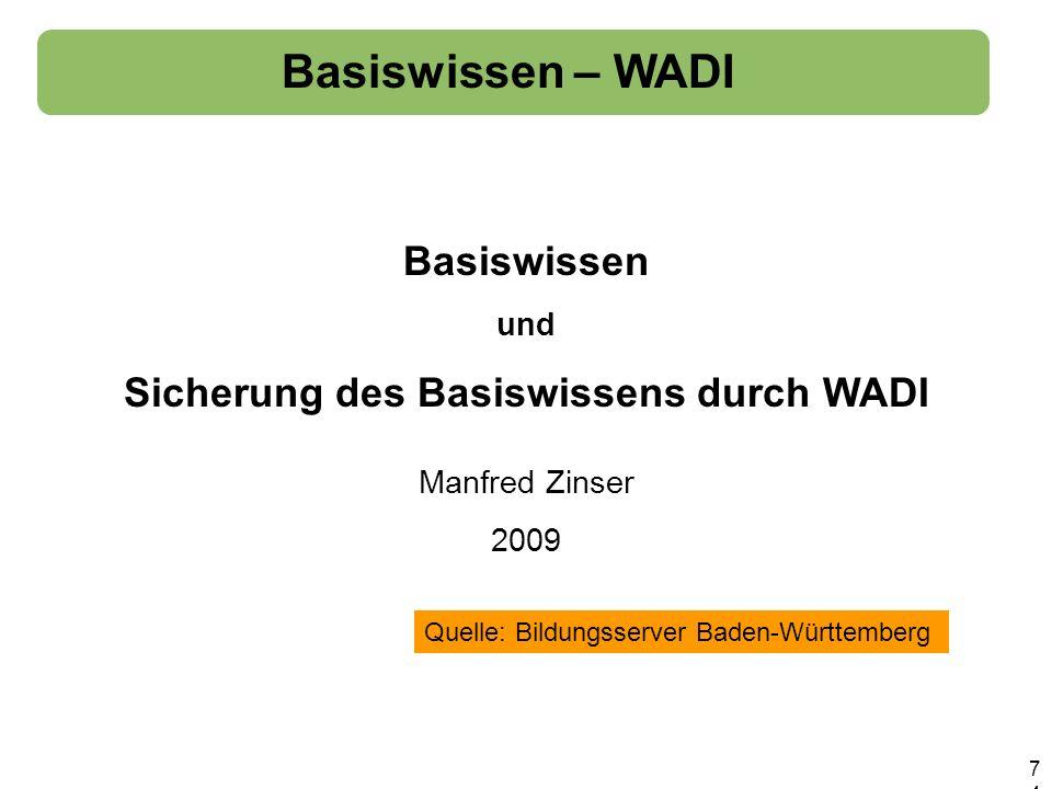 Sicherung des Basiswissens durch WADI