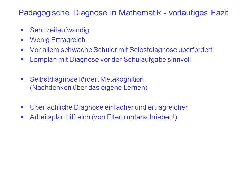 Pädagogische Diagnose in Mathematik - vorläufiges Fazit