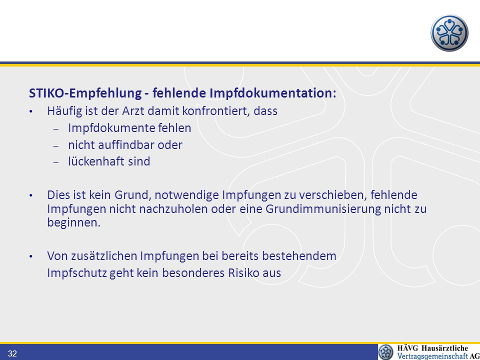 STIKO-Empfehlung - fehlende Impfdokumentation: