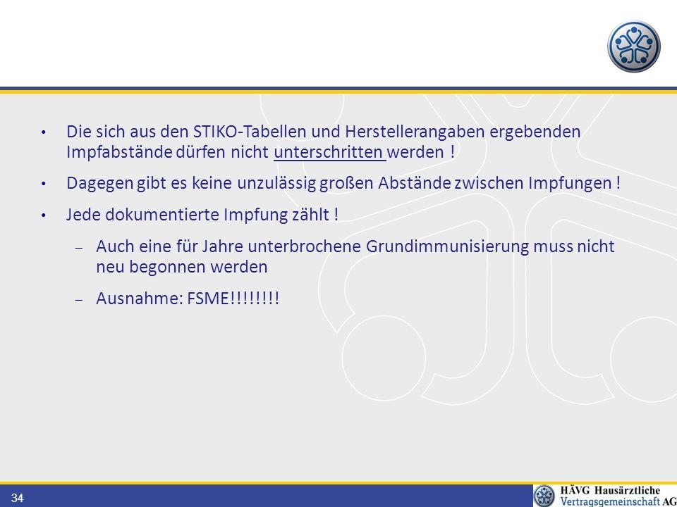 Die sich aus den STIKO-Tabellen und Herstellerangaben ergebenden Impfabstände dürfen nicht unterschritten werden !