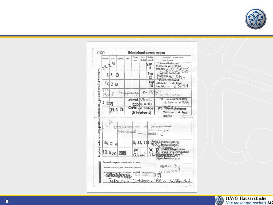 38 Patient hat: 6x Polio-Impfung 2x Tetanusimpfung 1x Diphterieimpfung