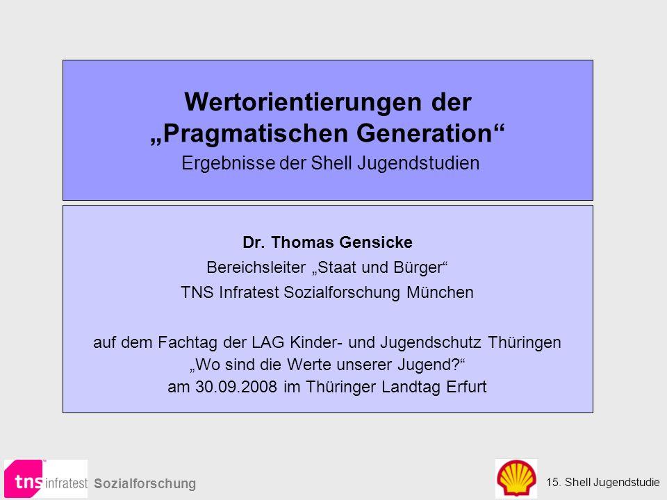 """Wertorientierungen der """"Pragmatischen Generation Ergebnisse der Shell Jugendstudien"""