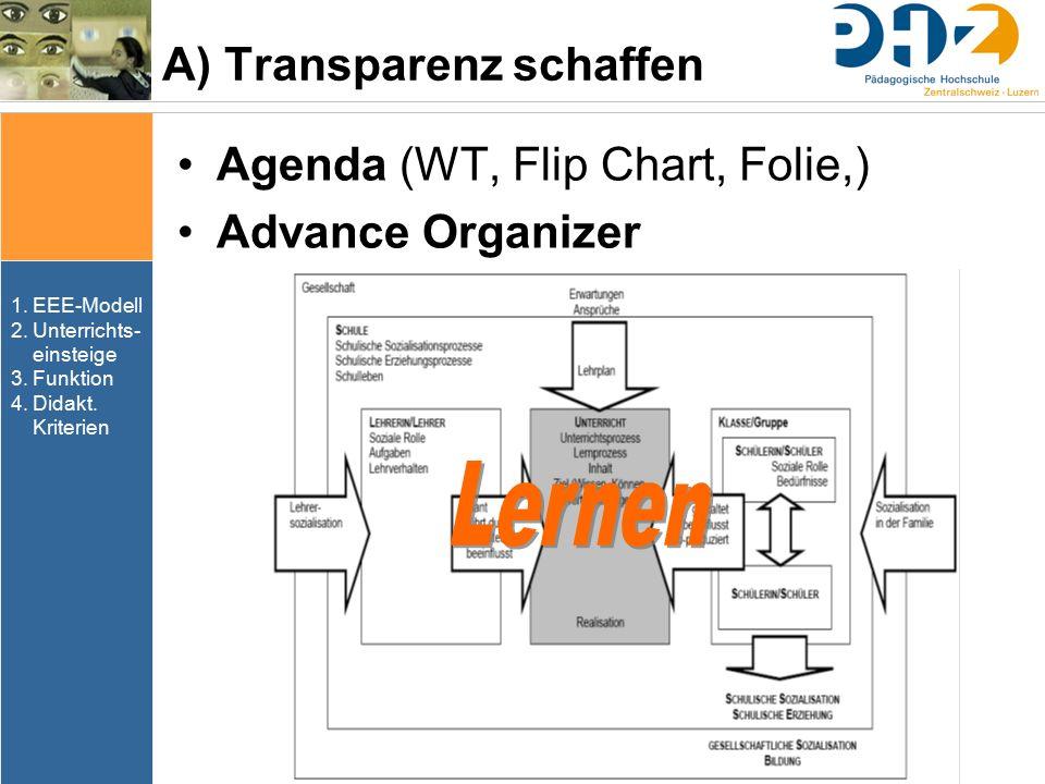 A) Transparenz schaffen