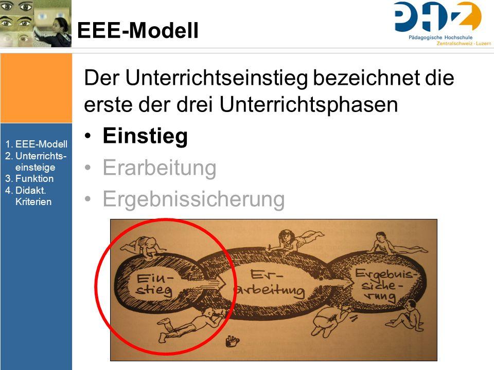 EEE-Modell Der Unterrichtseinstieg bezeichnet die erste der drei Unterrichtsphasen. Einstieg. Erarbeitung.