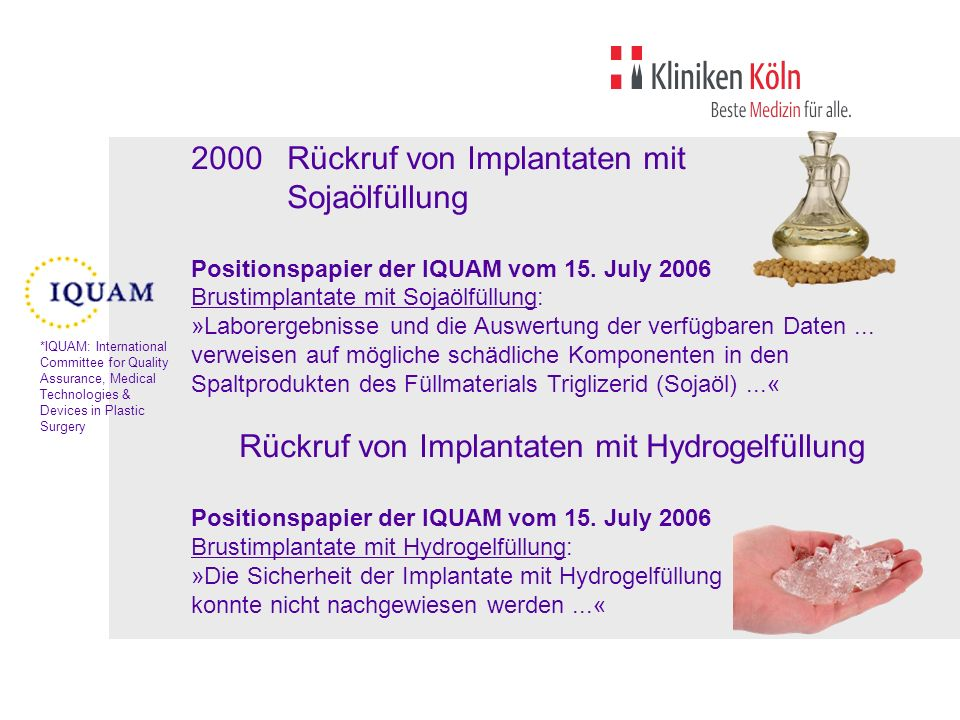 2000 Rückruf von Implantaten mit Sojaölfüllung