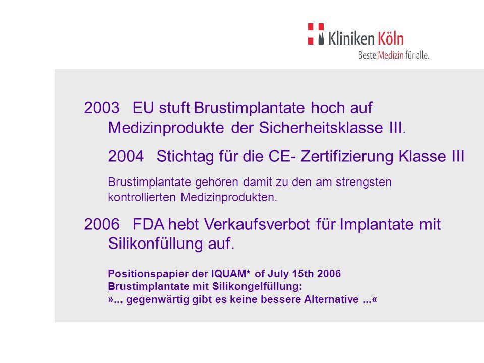 2006 FDA hebt Verkaufsverbot für Implantate mit Silikonfüllung auf.