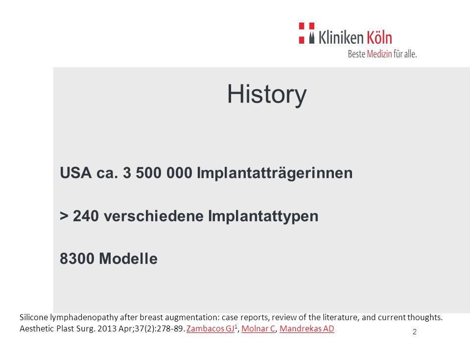 History USA ca. 3 500 000 Implantatträgerinnen > 240 verschiedene Implantattypen 8300 Modelle Ca 3 500 000 Implantatträgerinnen USA.