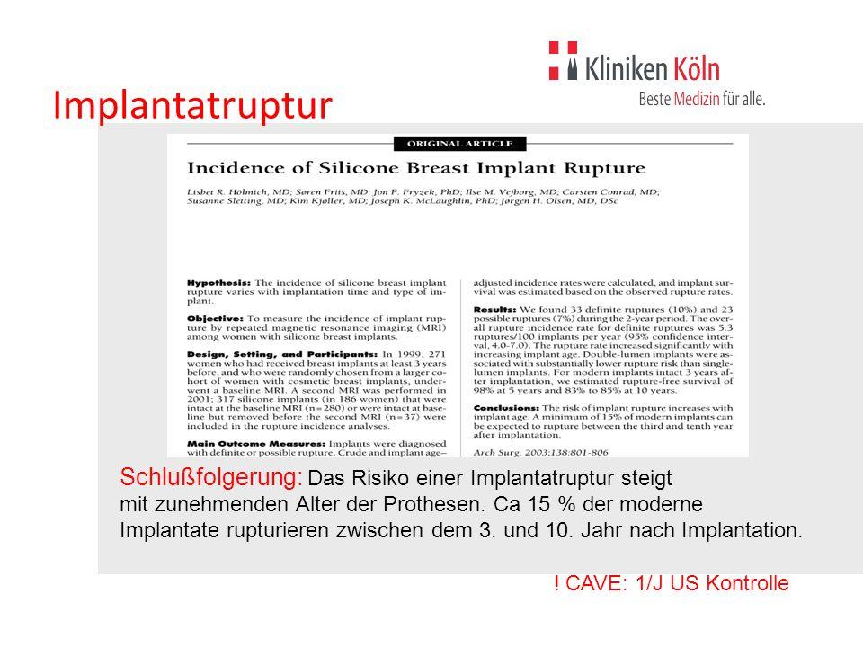 Implantatruptur Hölmich et al 2003. Schlußfolgerung: Das Risiko einer Implantatruptur steigt.