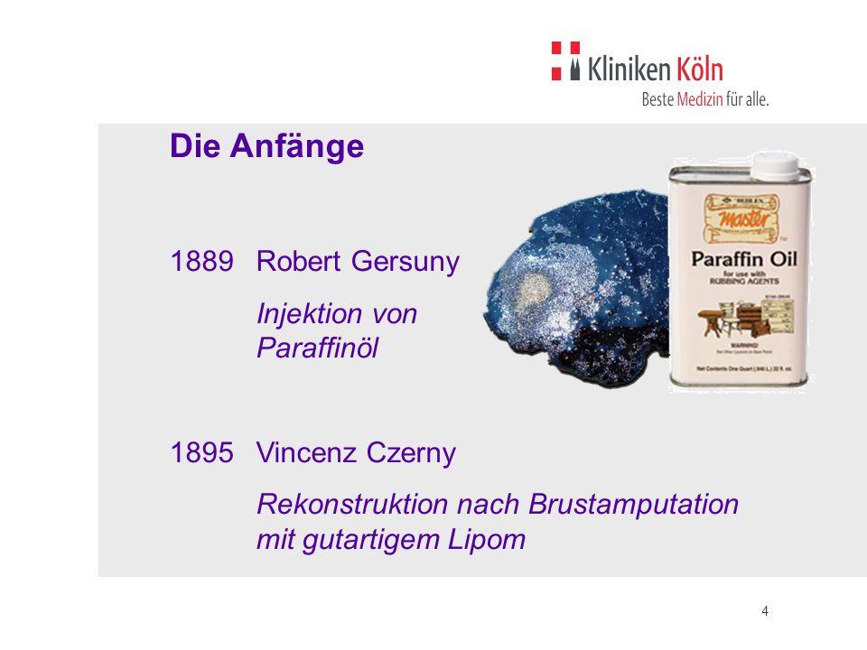 Die Anfänge 1889 Robert Gersuny Injektion von Paraffinöl