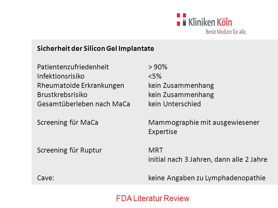 Sicherheit der Silicon Gel Implantate
