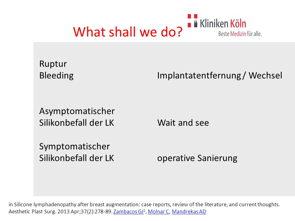 What shall we do Ruptur Bleeding Implantatentfernung / Wechsel