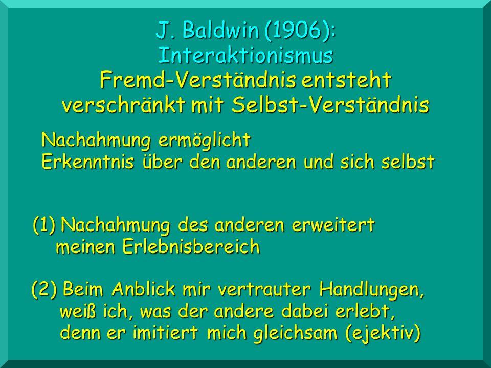 J. Baldwin (1906): Interaktionismus Fremd-Verständnis entsteht