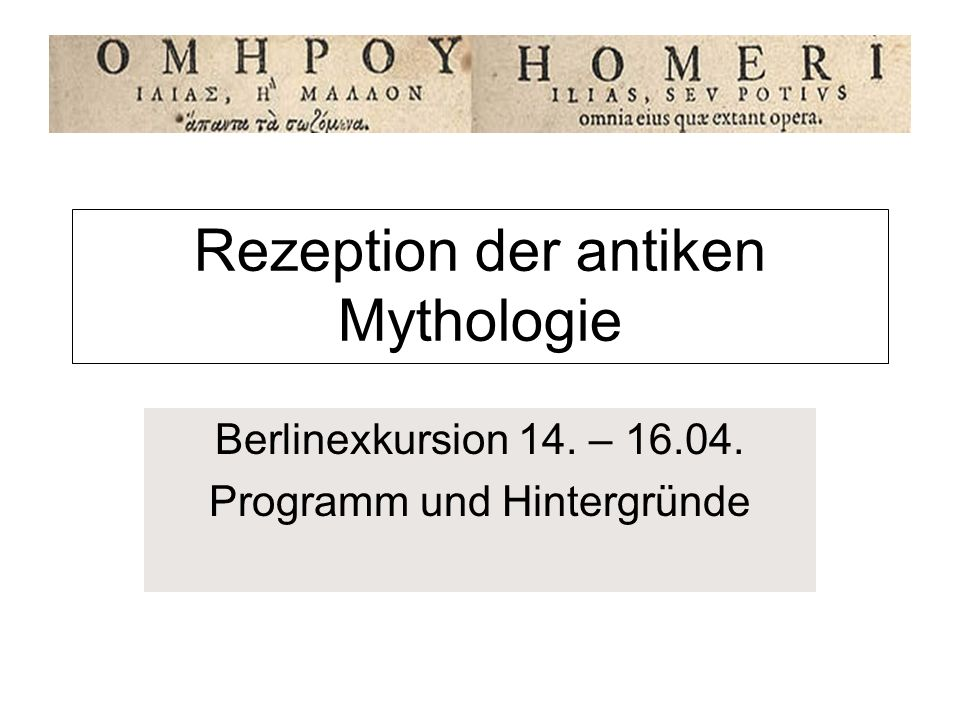 Rezeption der antiken Mythologie