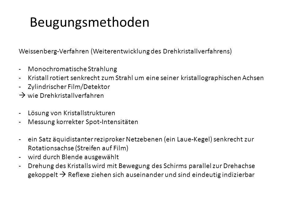 Beugungsmethoden Weissenberg-Verfahren (Weiterentwicklung des Drehkristallverfahrens) Monochromatische Strahlung.