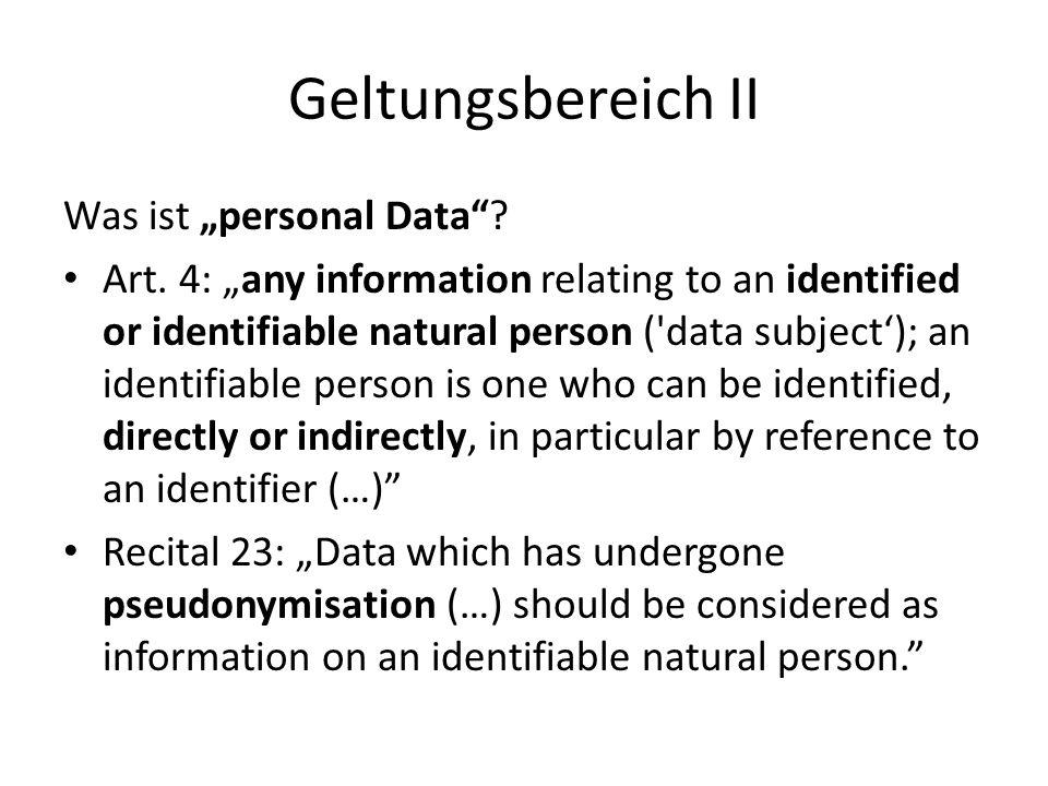 """Geltungsbereich II Was ist """"personal Data"""