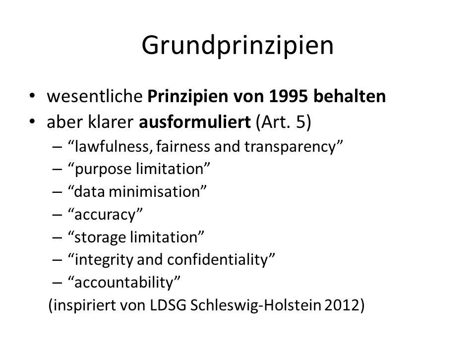 Grundprinzipien wesentliche Prinzipien von 1995 behalten