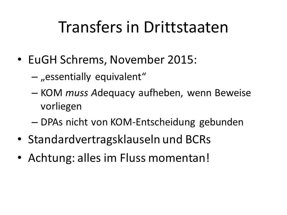 Transfers in Drittstaaten