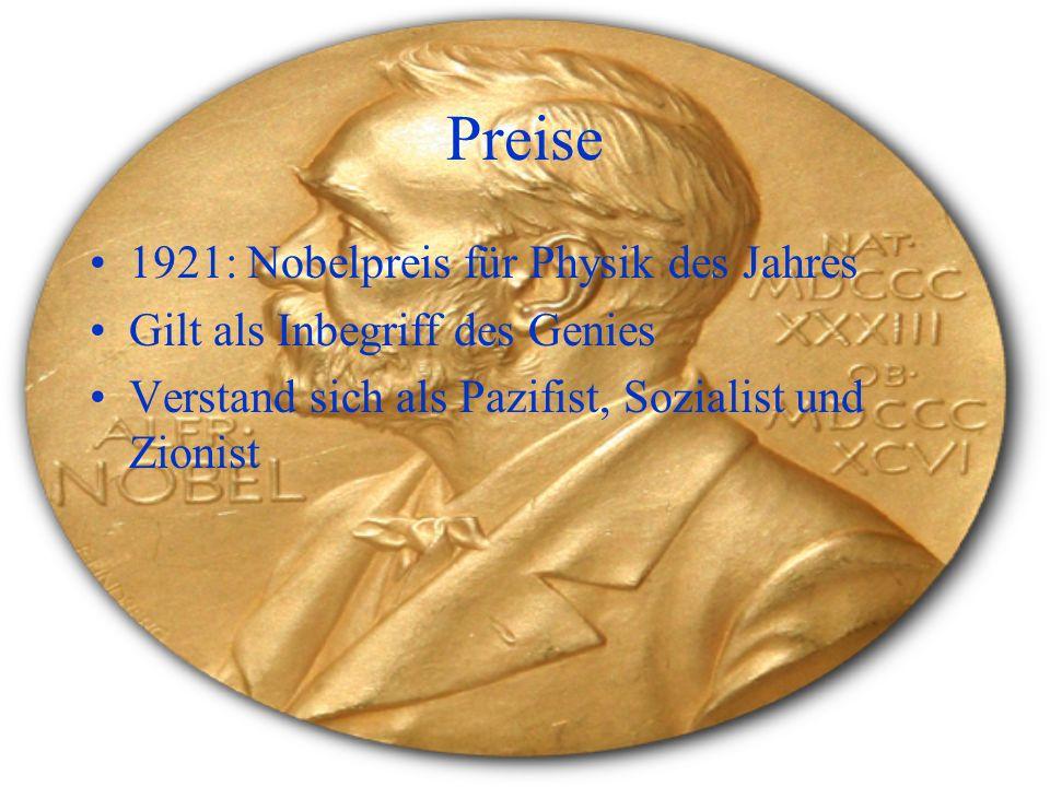 Preise 1921: Nobelpreis für Physik des Jahres