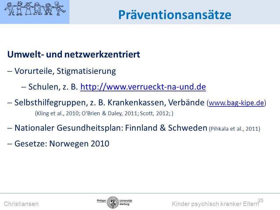 Präventionsansätze Umwelt- und netzwerkzentriert