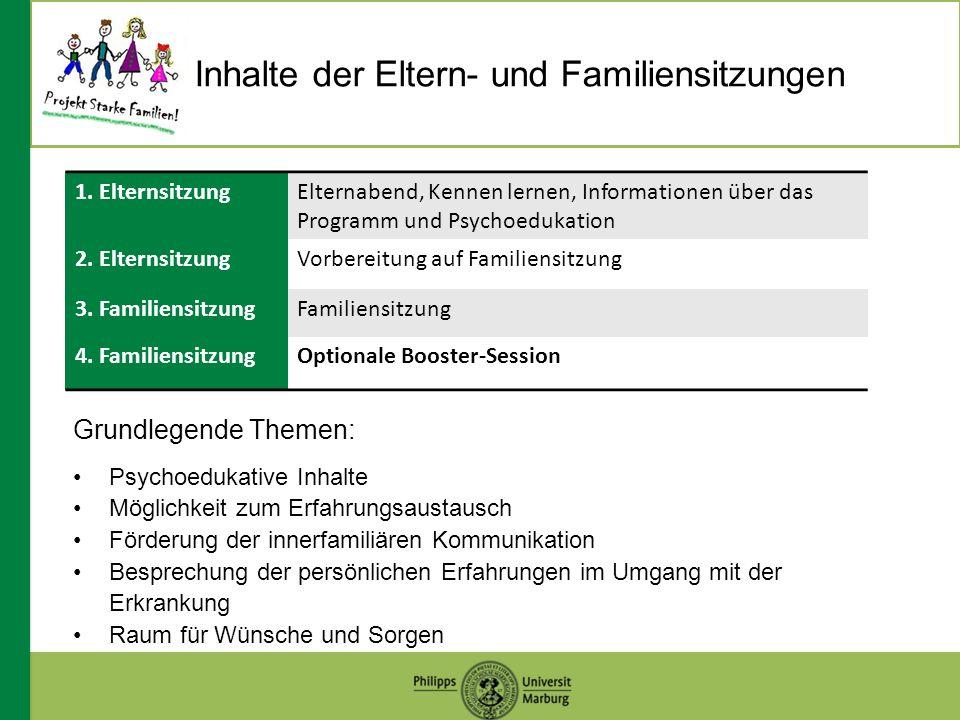 Inhalte der Eltern- und Familiensitzungen