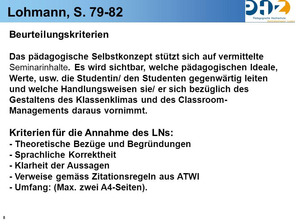 Lohmann, S. 79-82 Beurteilungskriterien