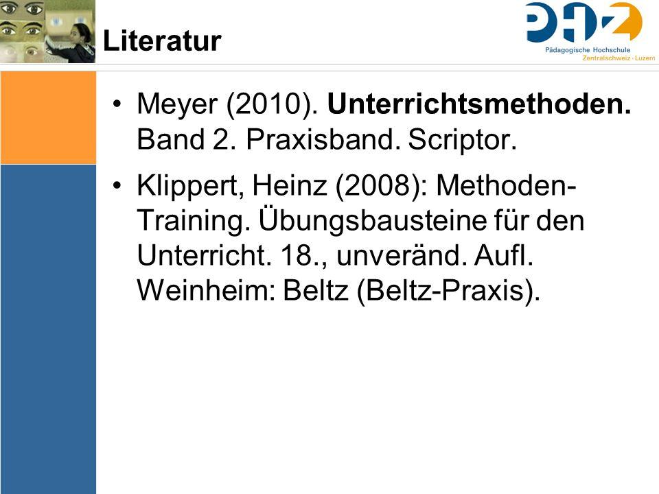 Meyer (2010). Unterrichtsmethoden. Band 2. Praxisband. Scriptor.